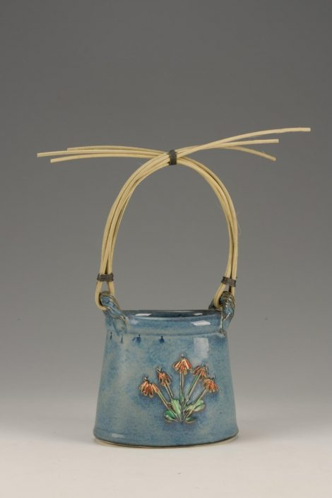 Flower Basket with Reed Handle