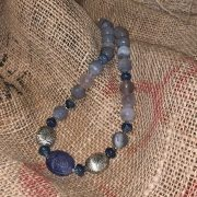 Blue Onyx Carved Stone Necklace