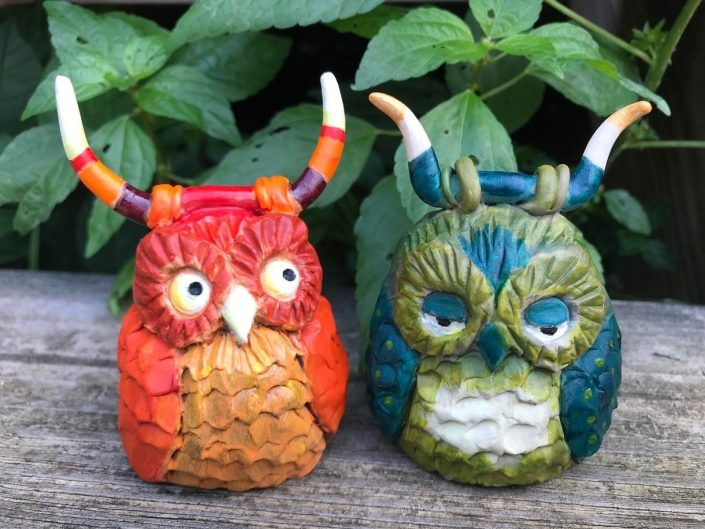 Two Hand Carved Owls