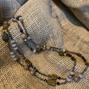 pyrite & Brown tones long necklace